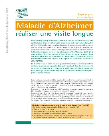 Première page du dépliant Maladie d'Alzheimer, réaliser une visite longue