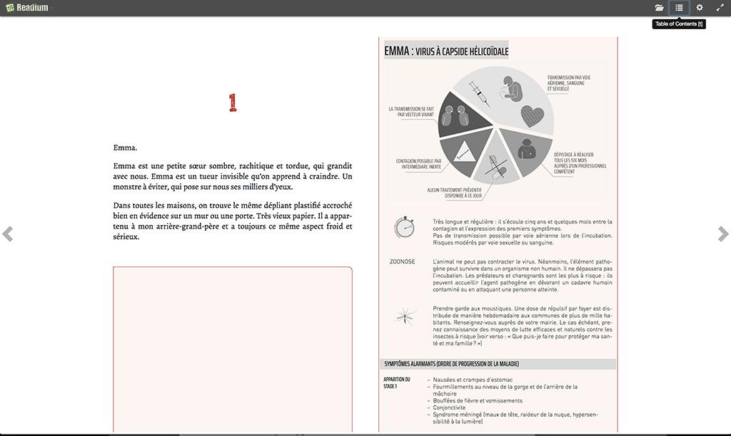 Création d'ebook : forcer un saut de page sur Readium. Le texte débute sur la page suivante, mais le saut de page ne fonctionne pas. Le cadre débute donc sur la page précédente.